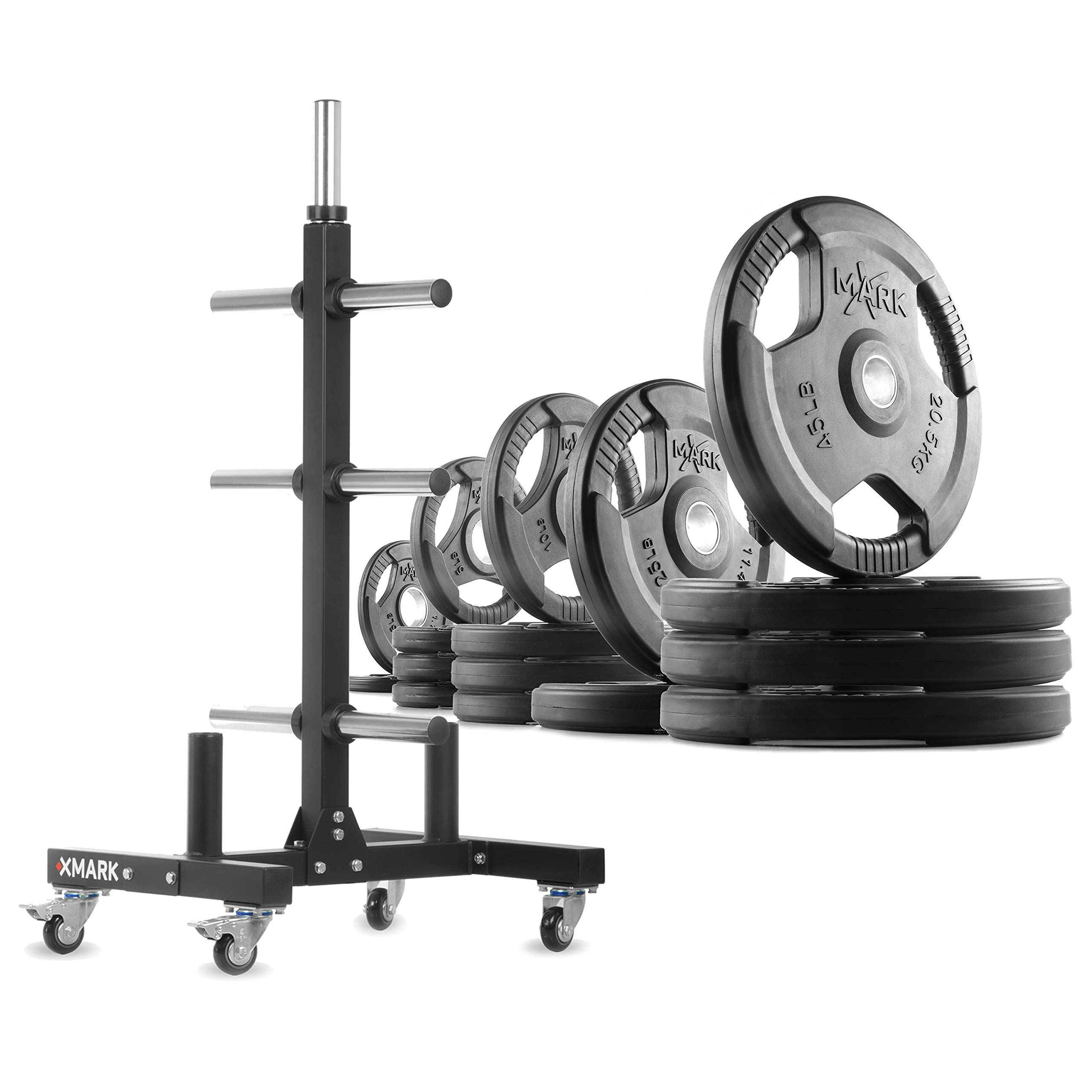 XMark XM-9055 Commerical Olympic Weight Tree Plus a 295 lb Set of TRI-Grip Olympic Plates by XMark