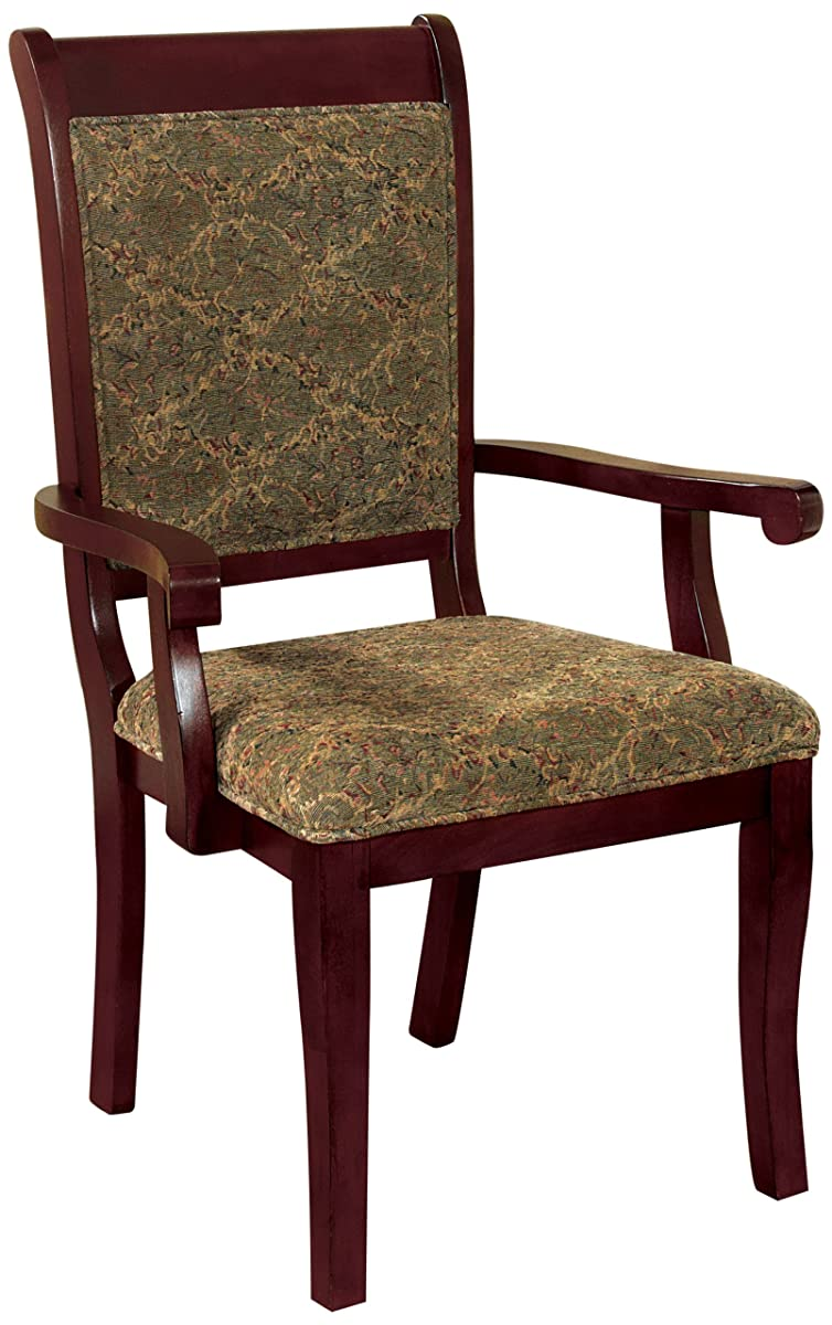 Furniture of America Bernette Transitional Style Arm Chair, Antique Cherry Finish, Set of 2