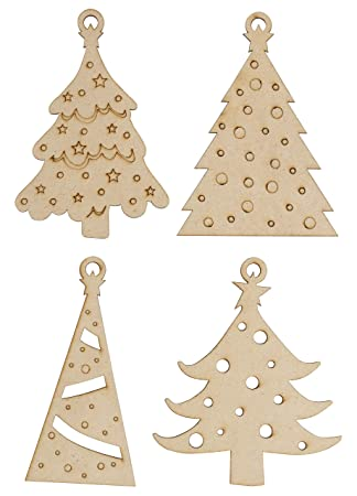 Unfinished Wooden Christmas Ornaments 24 Pack Paintable Blank Xmas Tree Hanging Wood Slices For Kids Diy Art Crafts Festive Decoration 4 Assorted