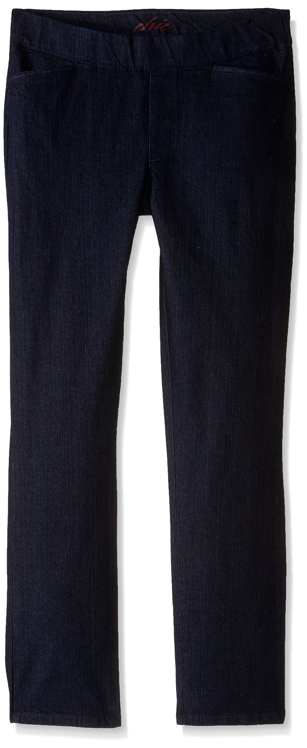 Chic Classic Collection Women's Easy Fit Elastic Waist Pull On Pant, Dark Shade, 16 Petite