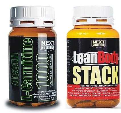 Kit para adelgazar: 1 paquete Acetil Carnitina 60 comprimidos (1 g de carnitina por comprimido) 78 gr + 1 paquete de pila Lean Body 100 comprimidos 110 g ...