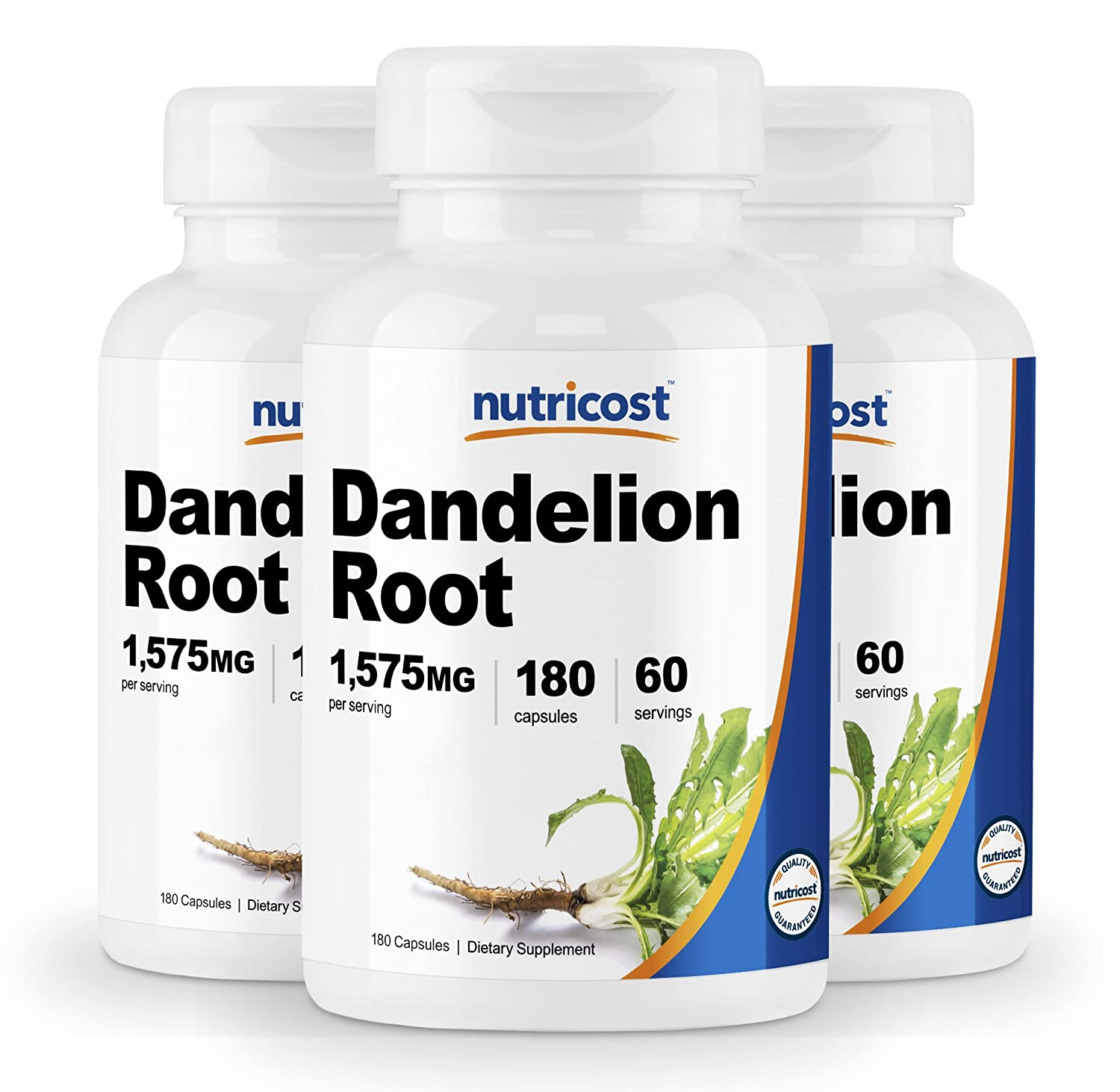 Nutricost Dandelion Root 525mg, 180 Capsules 3 Bottles – 1575mg Serving, Non-GMO, Gluten Free
