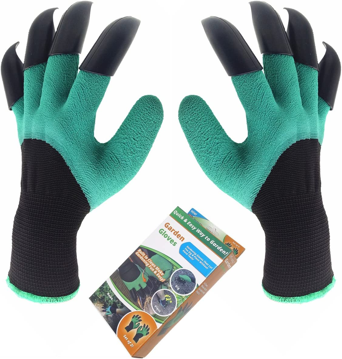 Green 1 Pairs Garden Genie Gloves with Fingertips Claw Gardening Gloves for Digging and Planting Great Gardening Gifts for Gardener