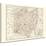 HISTORIX Vintage 1894 Ohio Map Poster - 24x36 Inch Vintage Map of Ohio State Wall Decor - Ohio State Map - Old Ohio State Pos