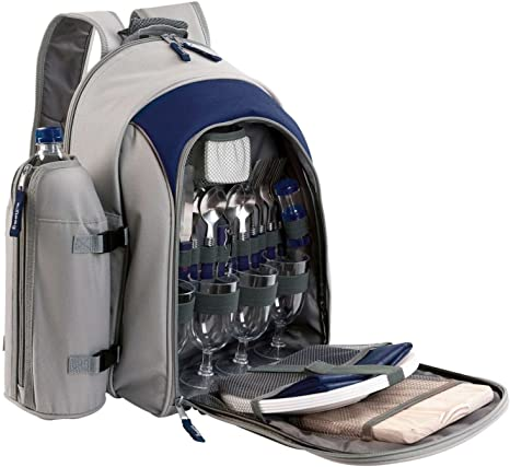 Mochila de picnic con vajilla de picnic 4 personas aislante compartimento bolsa para almuerzo Cubiertos (excursión Bolsa, picnic, camping de funda, ...