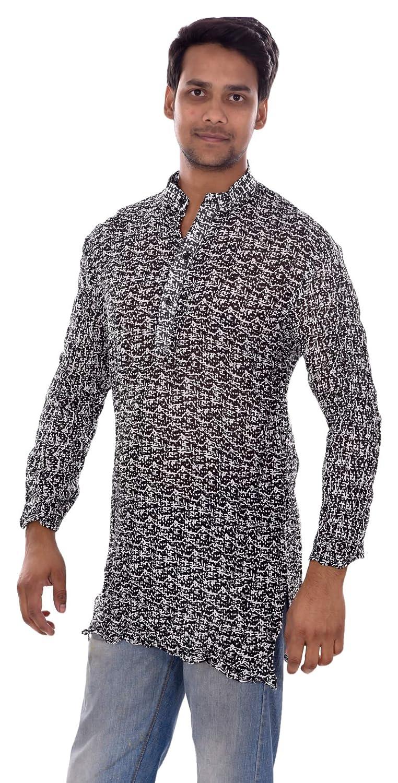 Lakkar Haveli Indian 100/% Cotton Mens Shirt Kurta Geometric Print Tunic Loose Fit Black Color Plus Size Length 36