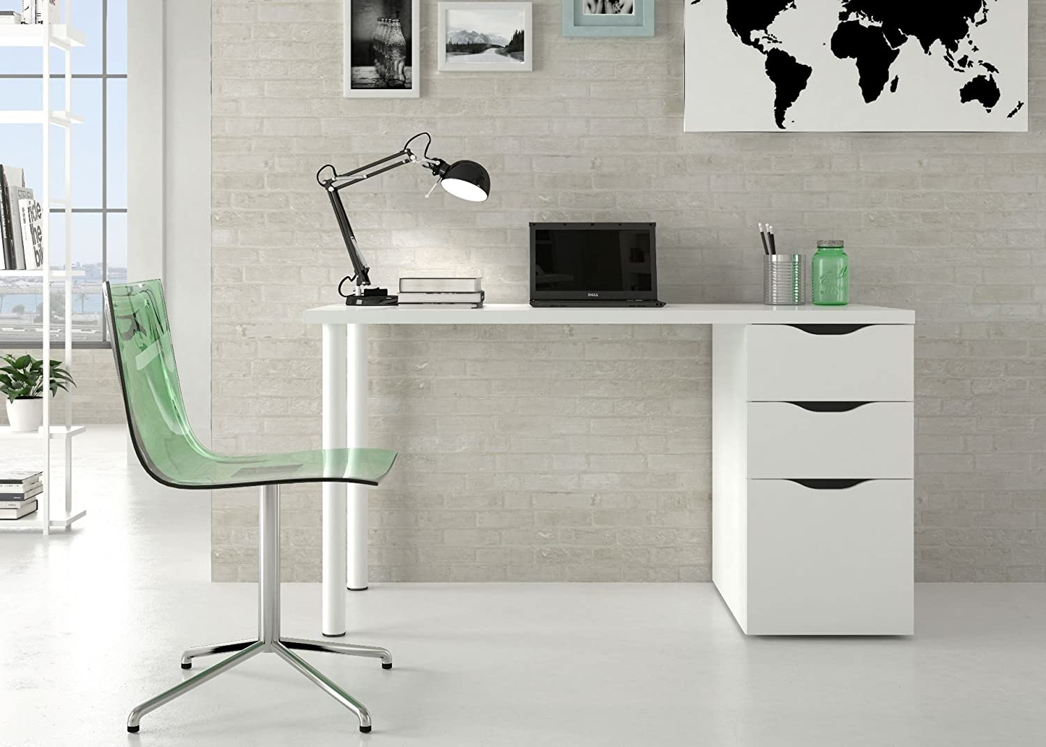 white gloss office desk. White Gloss Office Desk. Madrid Table Desk - By Furniture Factor: E