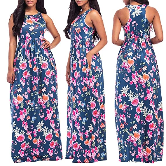 ShiTou Dress, Flowers, Printed, Sleeveless, Beach Dress at Amazon Womens Clothing store: