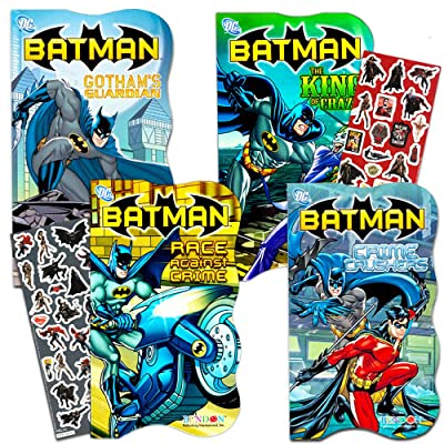 DC Comics Batman Shaped Board Book Set with Stickers (4 Books) : Baby