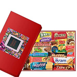 Medium Turkish Foreign Snacks Box, European Chocolates, Candy, Cookies, 15 Count Variety International Snacks, Foreign Candy Gift Box, Healthy Snack Box from Around the World 1.7 lb.
