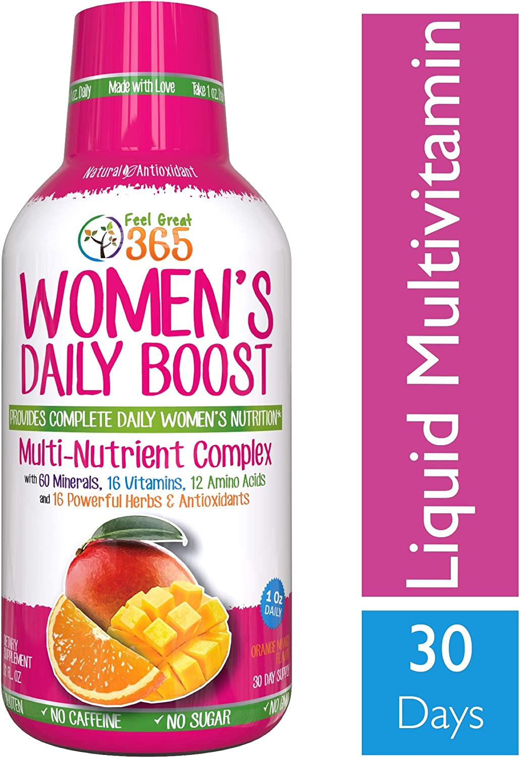 Women s Liquid Superfood Multivitamin by Feel Great 365 Woman Vitamins with 60 Minerals, 16 Vitamins, 12 Amino Acids, 16 Herb Antioxidants 1 Best Tasting Paleo Friendly Vitamin Blend