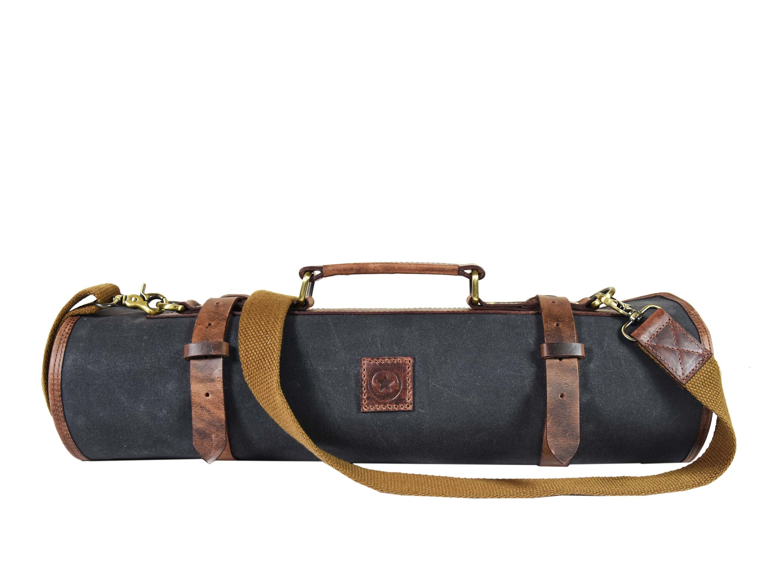 Leather Knife Roll Chef Roll Storage Bag Aaron Leather (Fossil Grey) by Aaron Leather (Image #1)