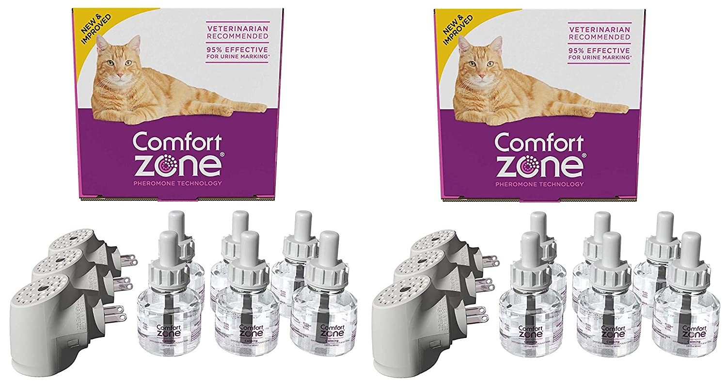 Comfort Zone 2 Pack of Calming Diffuser Kits for Cat Calming, 3 Diffusers and 6 Refills Per Pack