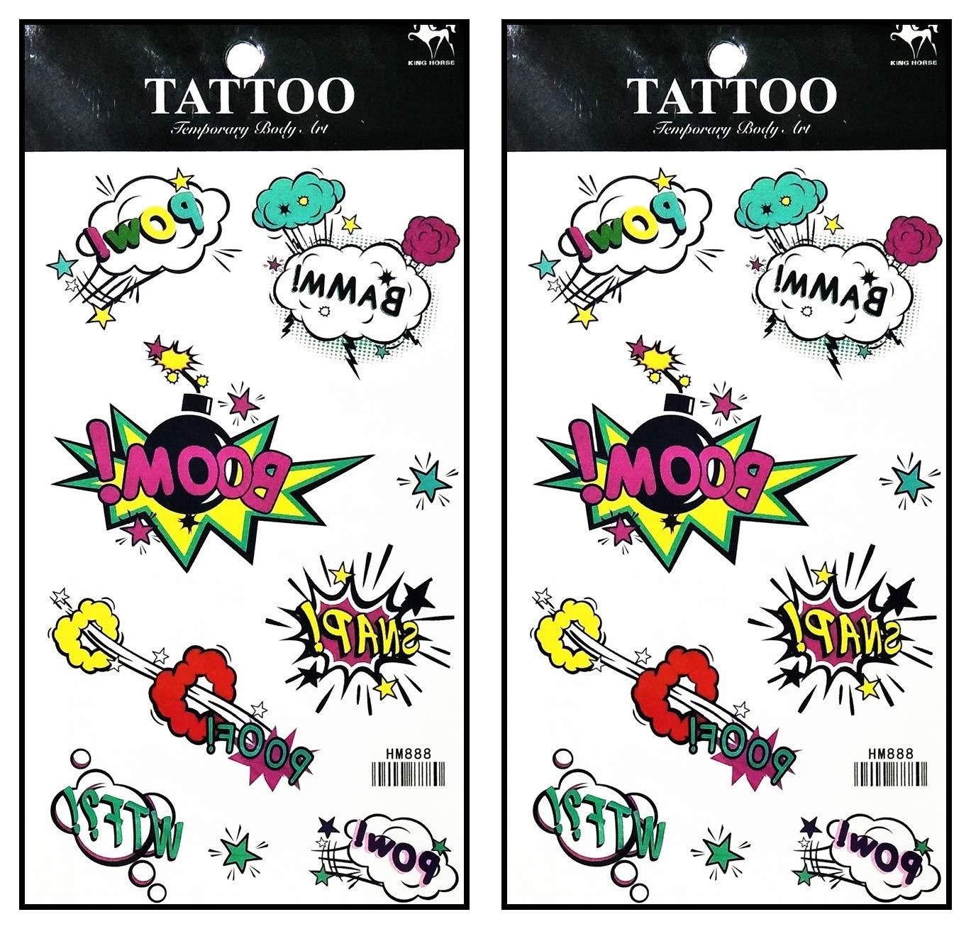 Tattoos 2 Sheets Boom! Pow! BAMM! Wow! Fun Funny Superhero Comics Waterproof Temporary Tattoo Sticker Fashion Flash Tatoo Fake Tattoo Removable for Men Women