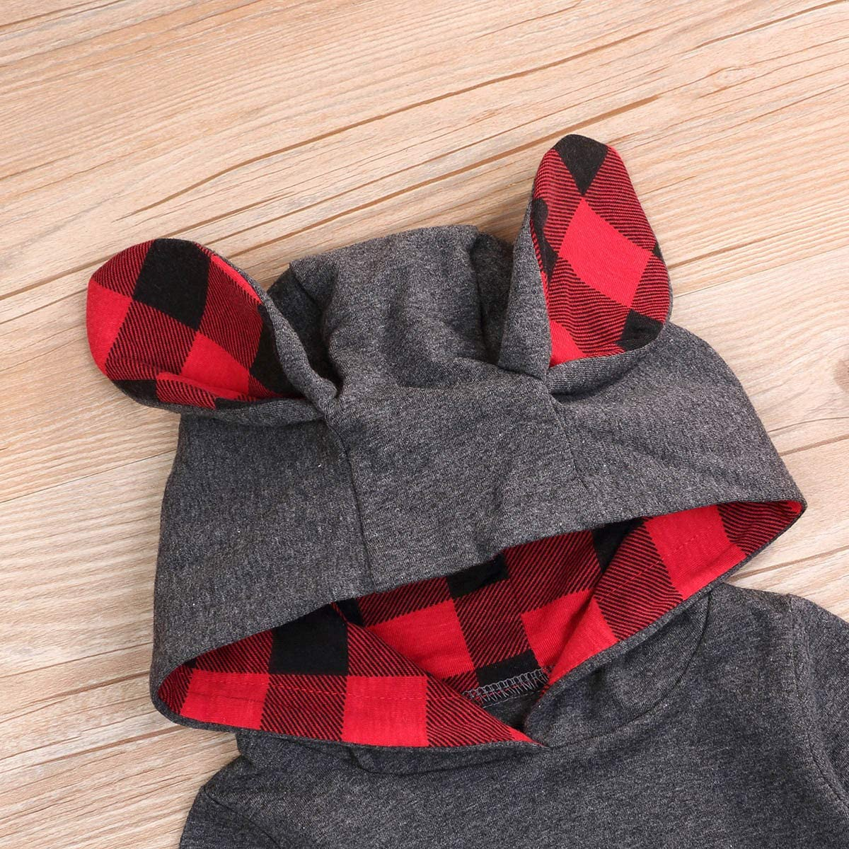 YOUNGER TREE Baby Boys Girls Hoodies Top Bunny Ears Romper Bodysuit Infant Jumpsuits Gray Outfit Red Plaid Clothes