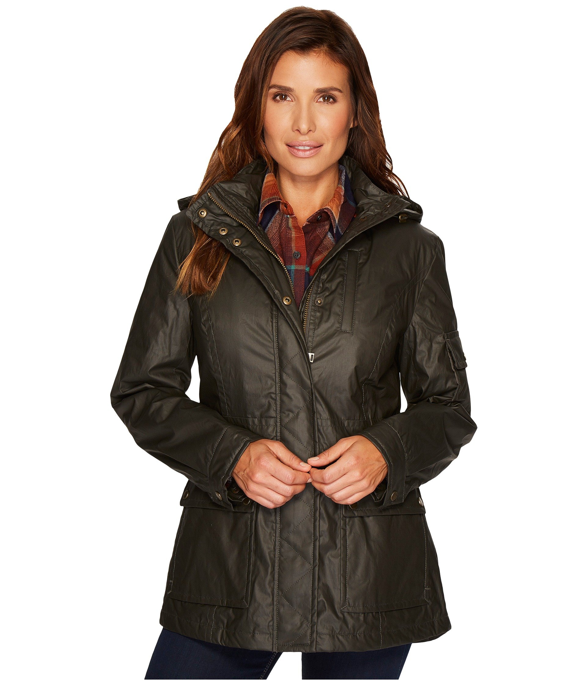 Pendleton Women's Waxed Cotton Hooded Zip Front Jacket, Olive, M by Pendleton (Image #7)