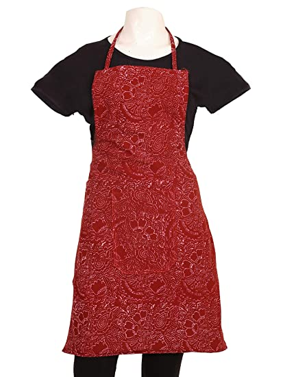 Kuber Industries Floral Cotton Kitchen Apron with Front Pocket - Maroon