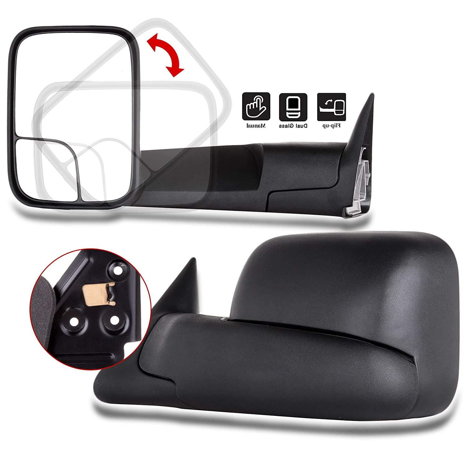 SCITOO Compatible fit for Towing Mirrors 1994 1995 1996 1997 Dodge Ram 1500 2500 3500 Truck Black Power Operation Pair Set Mirrors 050489-5206-1751433