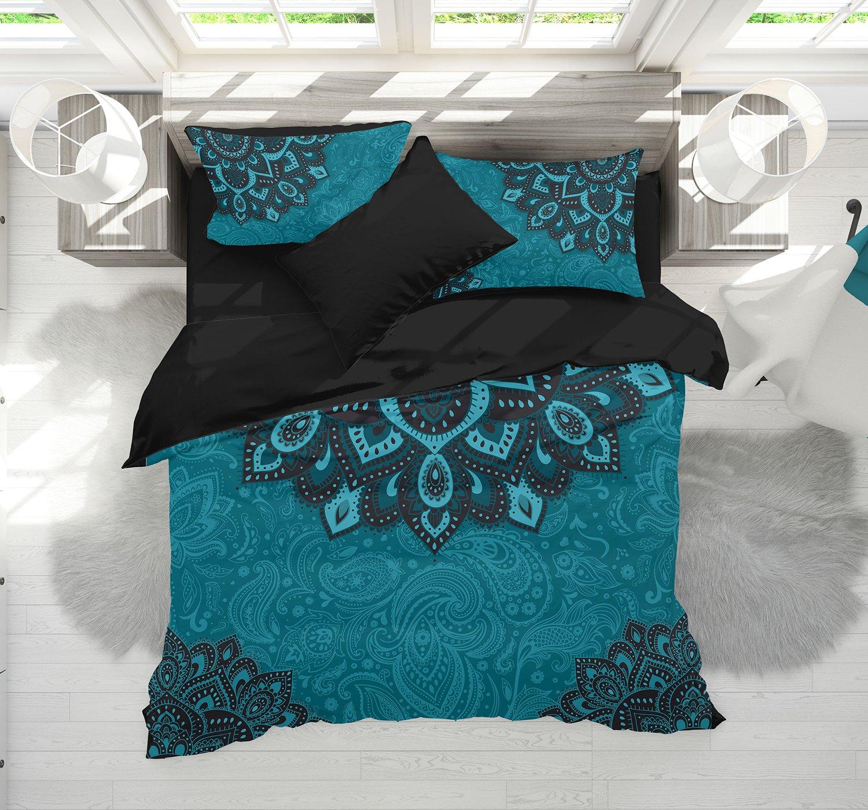Bohemian Teal Bedding, Dark Teal and Turquoise Mandala Duvet Cover Set, Teal Boho Comforter Set, Bogo Bedding, Mandala Bedspread (Queen (90'' x 90''))