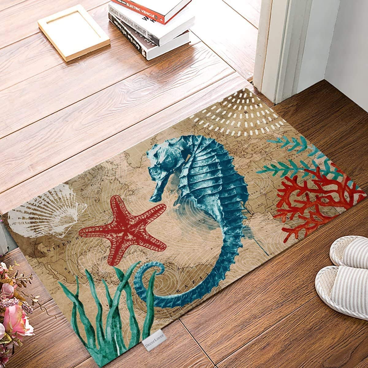 Doormats for Front Entrance Outside Patio Rug 18 x 30 Ocean Seahorse Starfish-Marine Life Theme Indoor Outdoor Bathroom Kitchen Bedroom Entryway Floor, Non-Slip Rubber