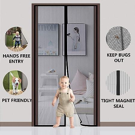 SODKK Magnetica Corredera Cortina, Cortina Mosquitera para Puertas, Cortina de Fibra de Vidrio de Primera Calidad, Fácil de Instalar, Bueno para Niños y Perros - Negro 120x215cm(47x84inch): Amazon.es: Hogar