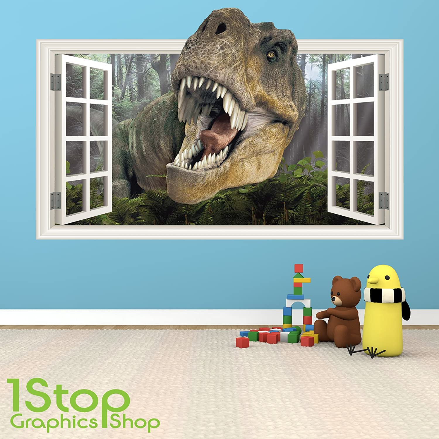 DINOSAUR WALL STICKER FULL COLOUR GIRLS BOYS KIDS BEDROOM WINDOW - 3d dinosaur wall decalsd dinosaur wall stickers for kids bedrooms jurassic world wall