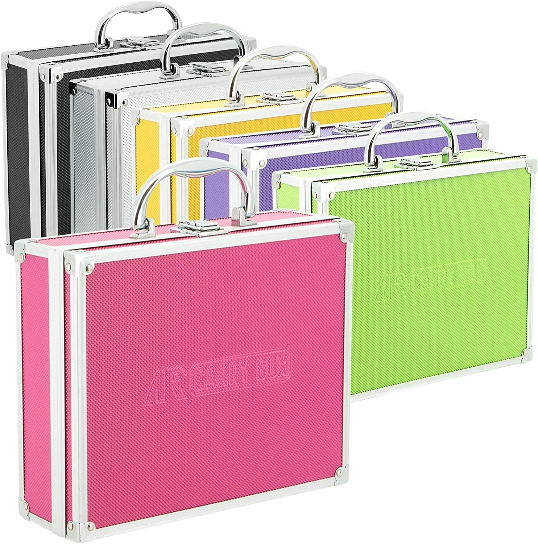 Caja de aluminio para maletas de diferentes colores con relleno de espuma, Rosa
