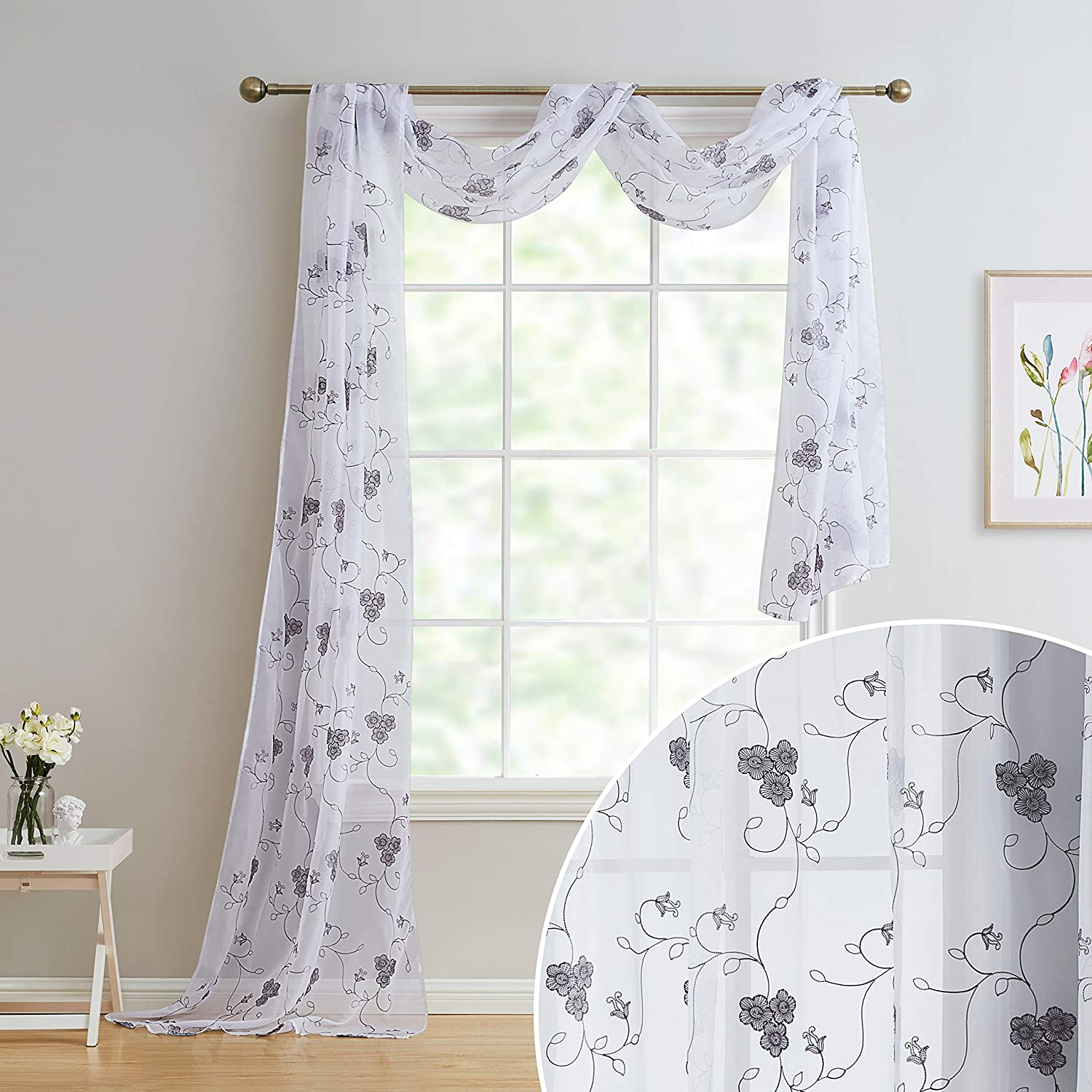 HLC.ME Allegra Floral Embroidered Sheer Voile Light Filtering Window Curtain Valance Scarf - 38 x 216 Inch Long (White/Grey)