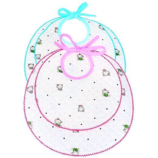 2 Baby Bibs & Burp Cloths For Burping, & Drooling. Fancy Multi Layers Muslin Cotton Bib For Shower Gift