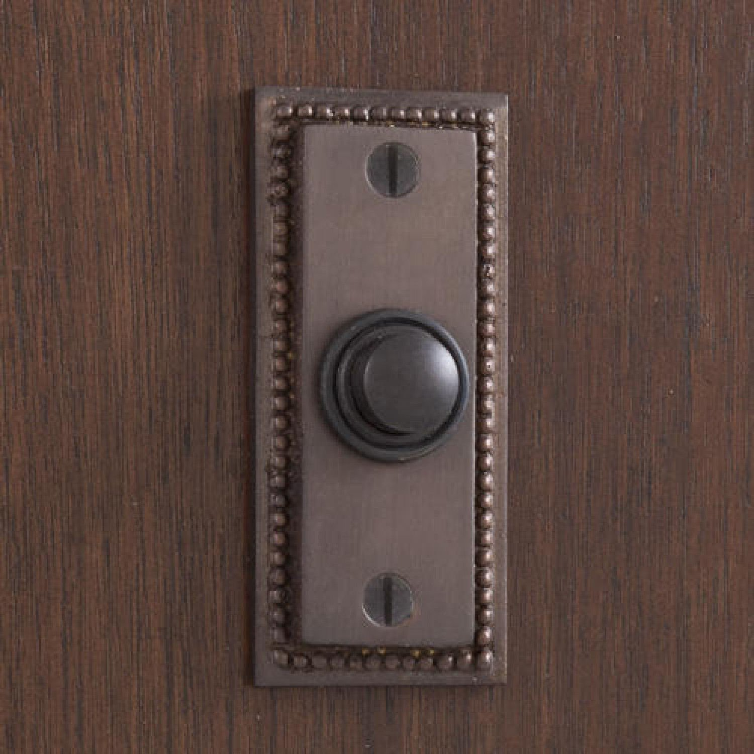 Casa Hardware Beaded Rectangular Solid Brass Metal Doorbell with Push Button in Oil Rubbed Bronze Finish