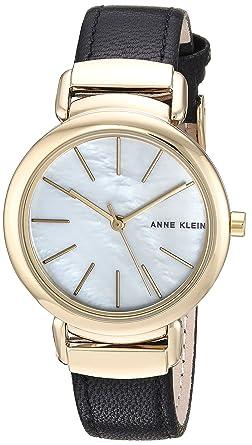 f05b40c43 Anne Klein Women's AK/2752MPBK Gold-Tone and Black Leather Strap Watch