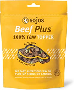 Sojos Beef Plus Raw Grain-Free Dog Food Topper, 4 Ounce Bag