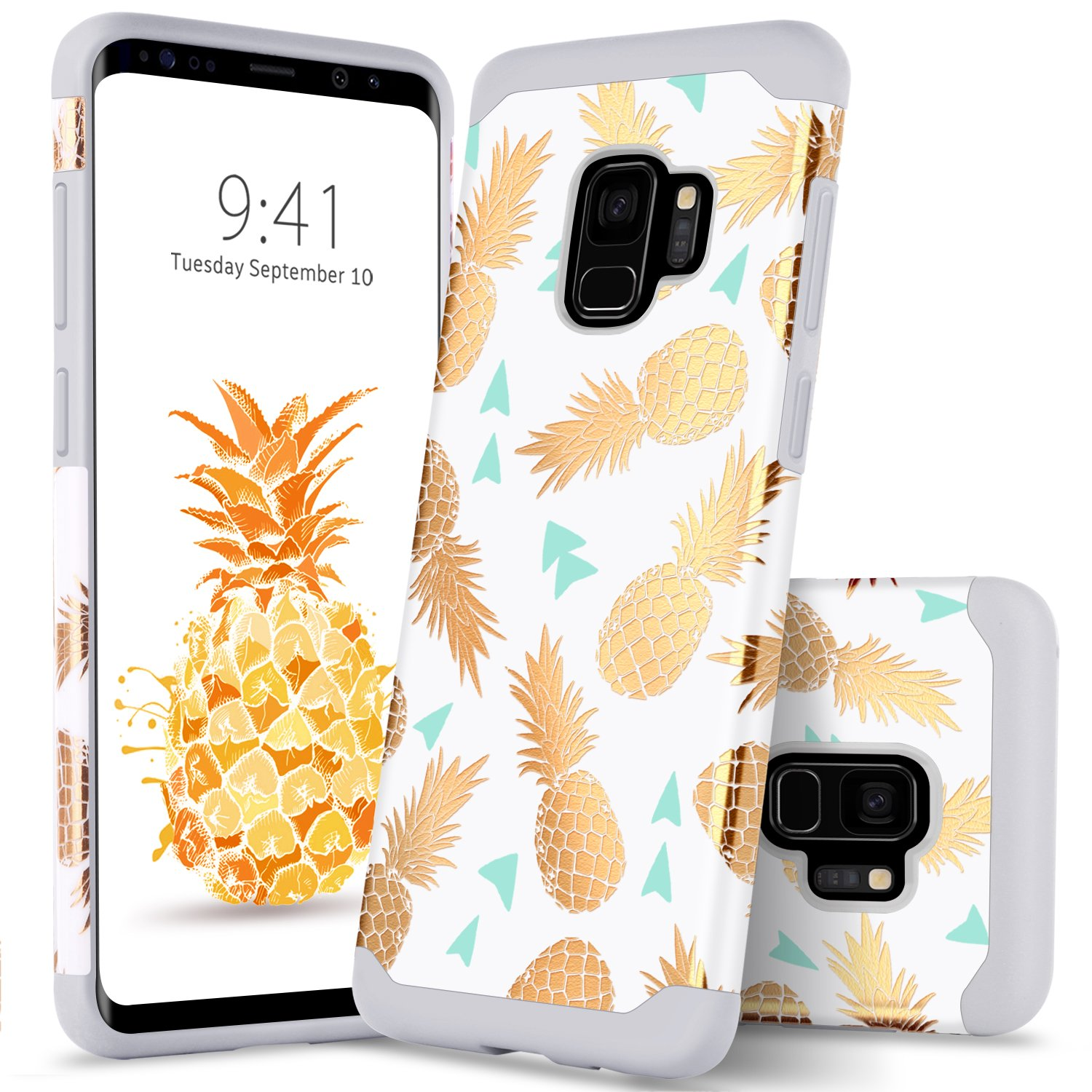 Galaxy S9 Case Samsung S9 Case Colorful Pineapple, GUAGUA Ultra Slim Fit Hybrid Hard PC Soft Rubber Cover Anti-scratch Shockproof Protective Phone Case for Samsung Galaxy S9 Case for Girls& Women Rose Gold White