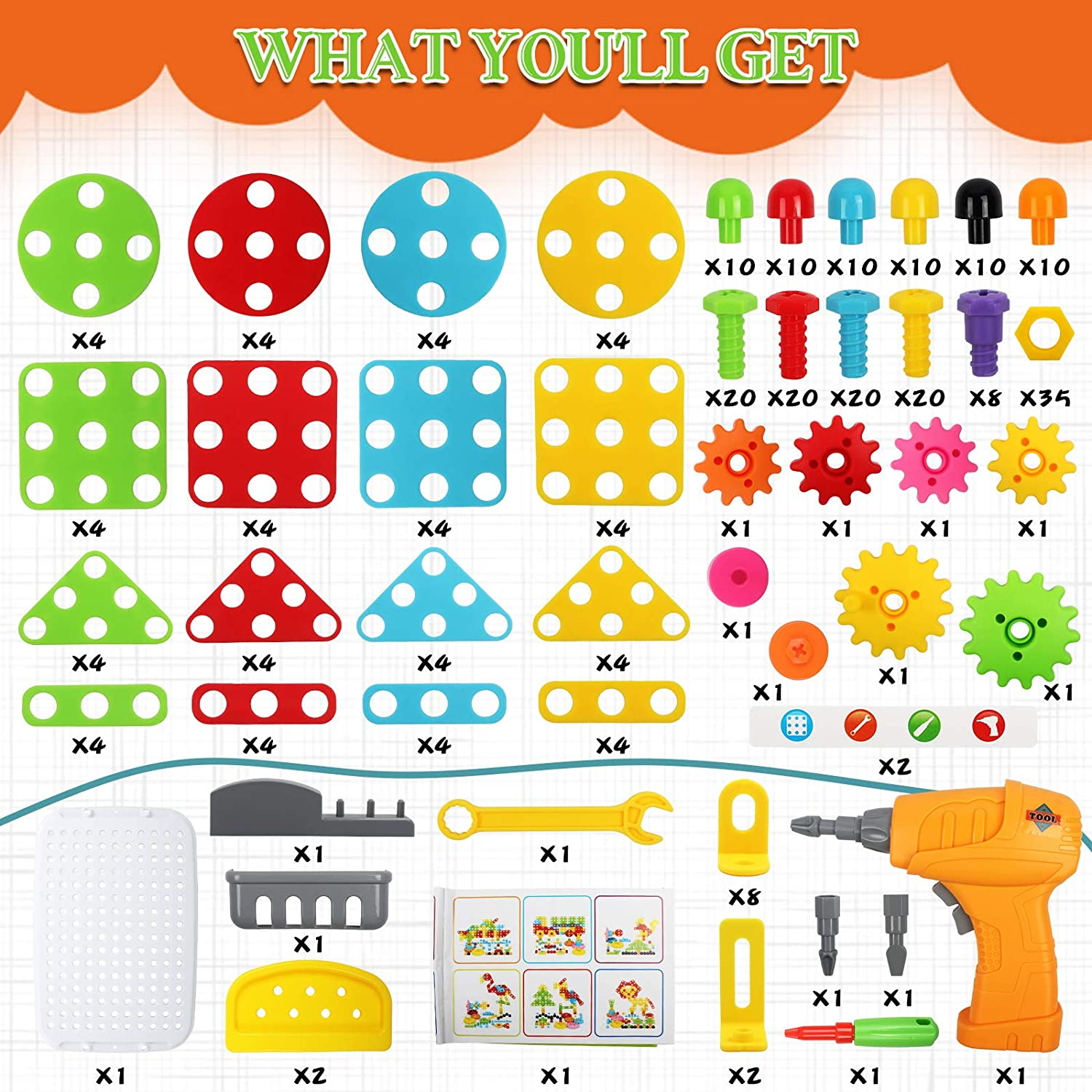 Ansoyi 276PCS Electric Drill Puzzle Toy Set for Boys /& Girls,STEM Engineering Education Learning Building Block Set with Pegboard Toy Drill Button Screw Driver Tool Kits for Kids Ages 3-10 Years Old