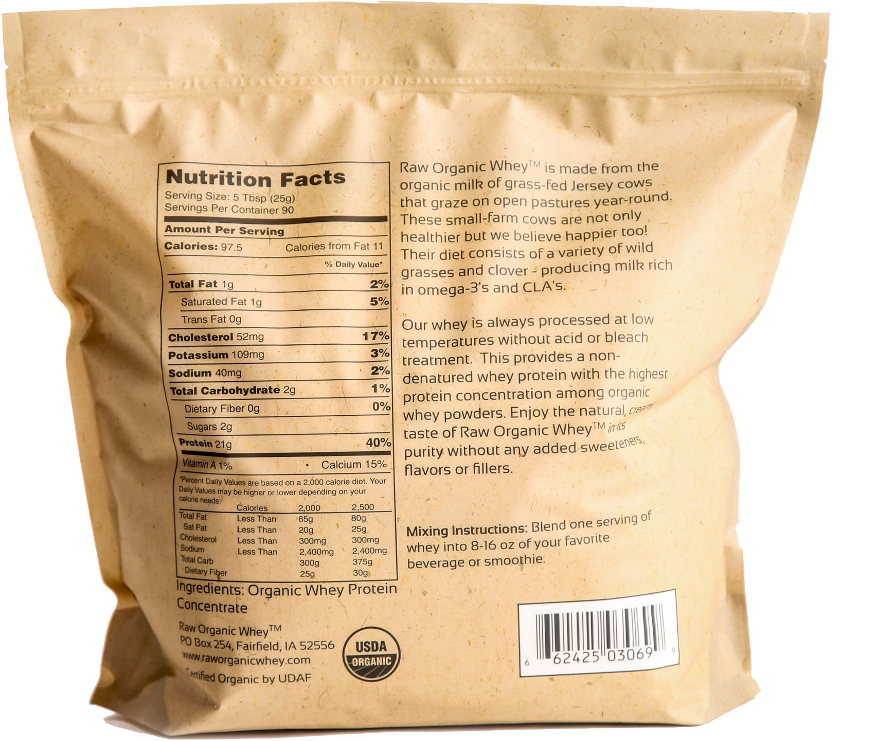 Raw Organic Whey 5LB - USDA Certified Organic Whey Protein Powder, Happy Healthy Cows, COLD PROCESSED Undenatured 100% Grass Fed + NON-GMO + rBGH Free + Gluten Free, Unflavored, Unsweetened(5 LB BULK) by Raw Organic Whey (Image #2)