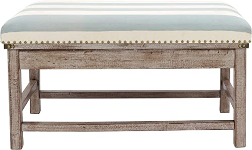 Decor Therapy Farley Upholstered Weathered Ottoman, 35.43×20.08×19.69, Driftwood