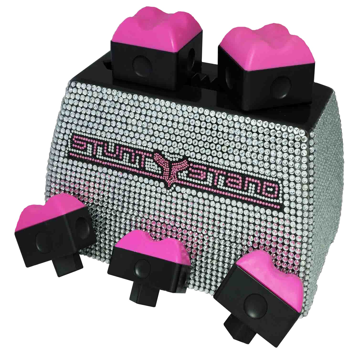 Cheerleading Stunt Stand Elite Edition Balance & Flexibility Training Device - Rhinestone w Pink Grips