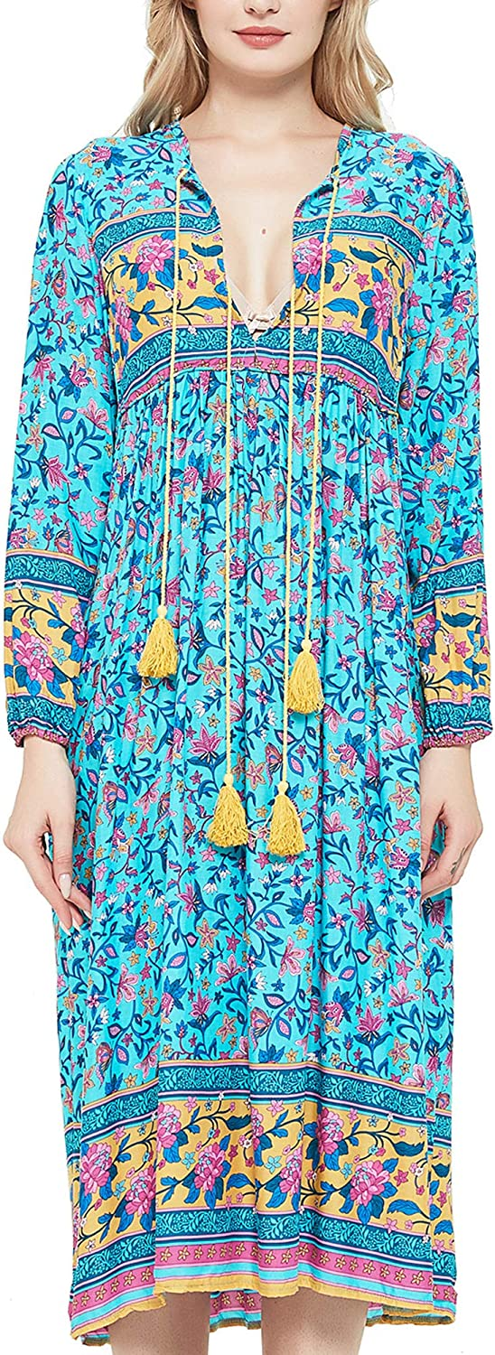 UIMLK Boho Maxi Dresses for Women Casual Summer, Cotton Long Sleeve Floral Print Tassel Bohemian Midi Dresses with Pockets