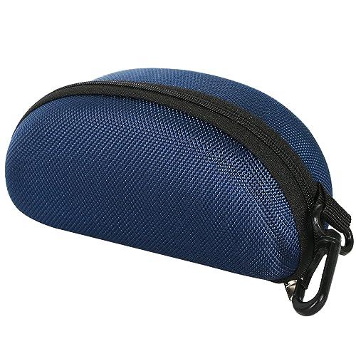 TRIXES Custodia protettiva sagomata blu scuro con zip per occhiali da sole.