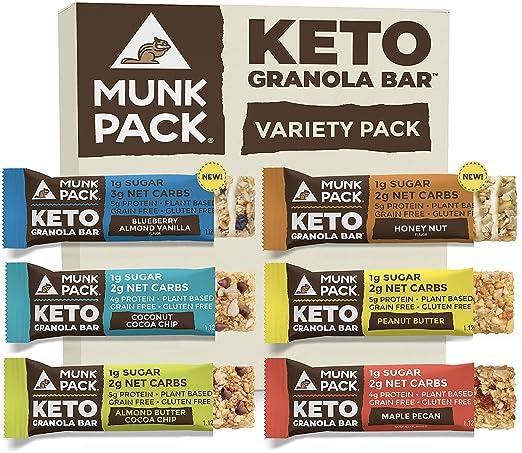 Munk Pack Keto Granola Bar, 1g Sugar, 2g Net Carbs, Keto Snacks, Chewy & Grain Free, Plant Based, Gluten Free, Soy Free, No Sugar Added (Variety 6 Pack)