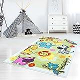 Kinderteppich, Teppich für Kinderzimmer mit Tier-Motiven, Giraffe/ Löwe/ Elefant/ Zebra, Bunt und Farbenfroh, Grün, für Jungen und Mädchen, Größe: 120 x 160 cm