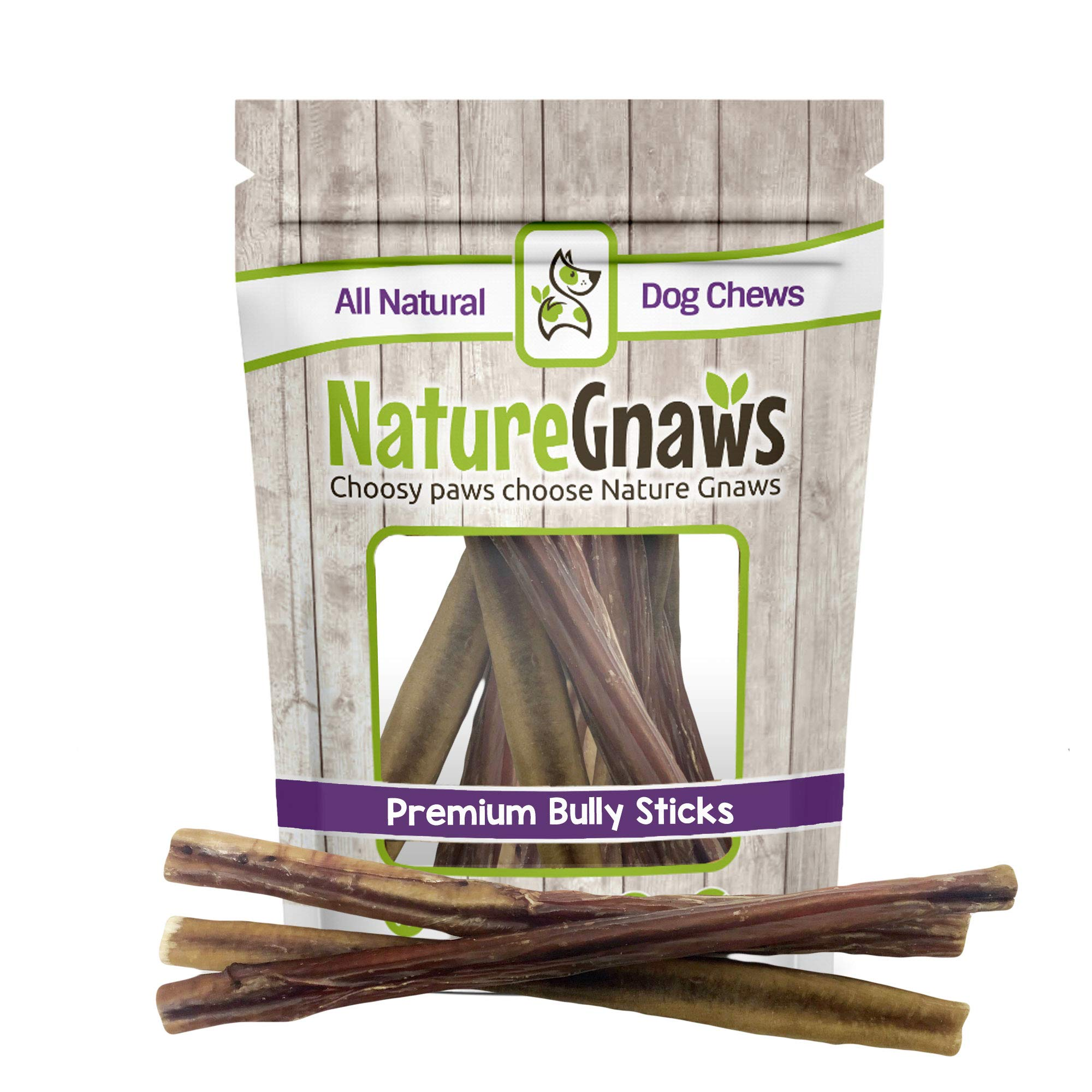 Nature Gnaws Large Bully Sticks 11-12'' (10 Pack) - 100% All Natural Grass-Fed Free-Range Premium Beef Dog Chews