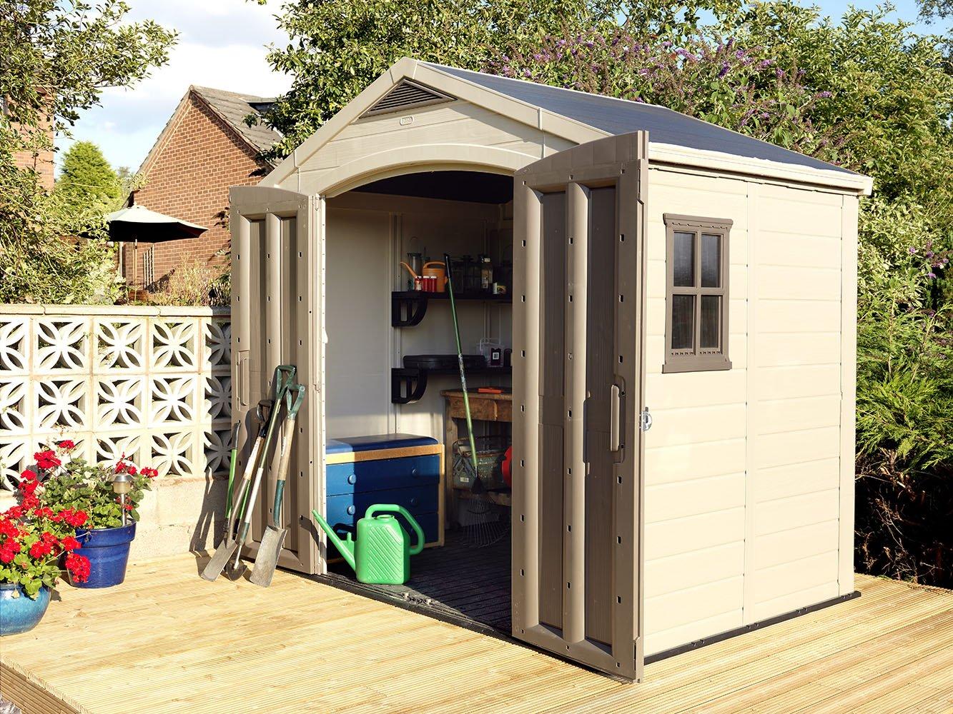 amazon com keter factor large 8 x 6 ft resin outdoor backyard