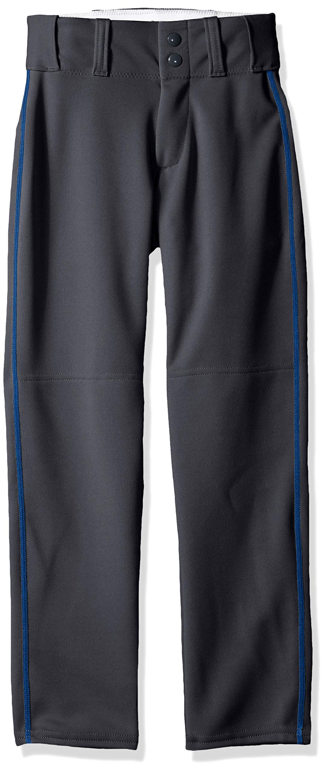Alleson Ahtletic Boys Youth Baseball Pants with Braid, Charcoal/Royal, Medium by Alleson Athletic