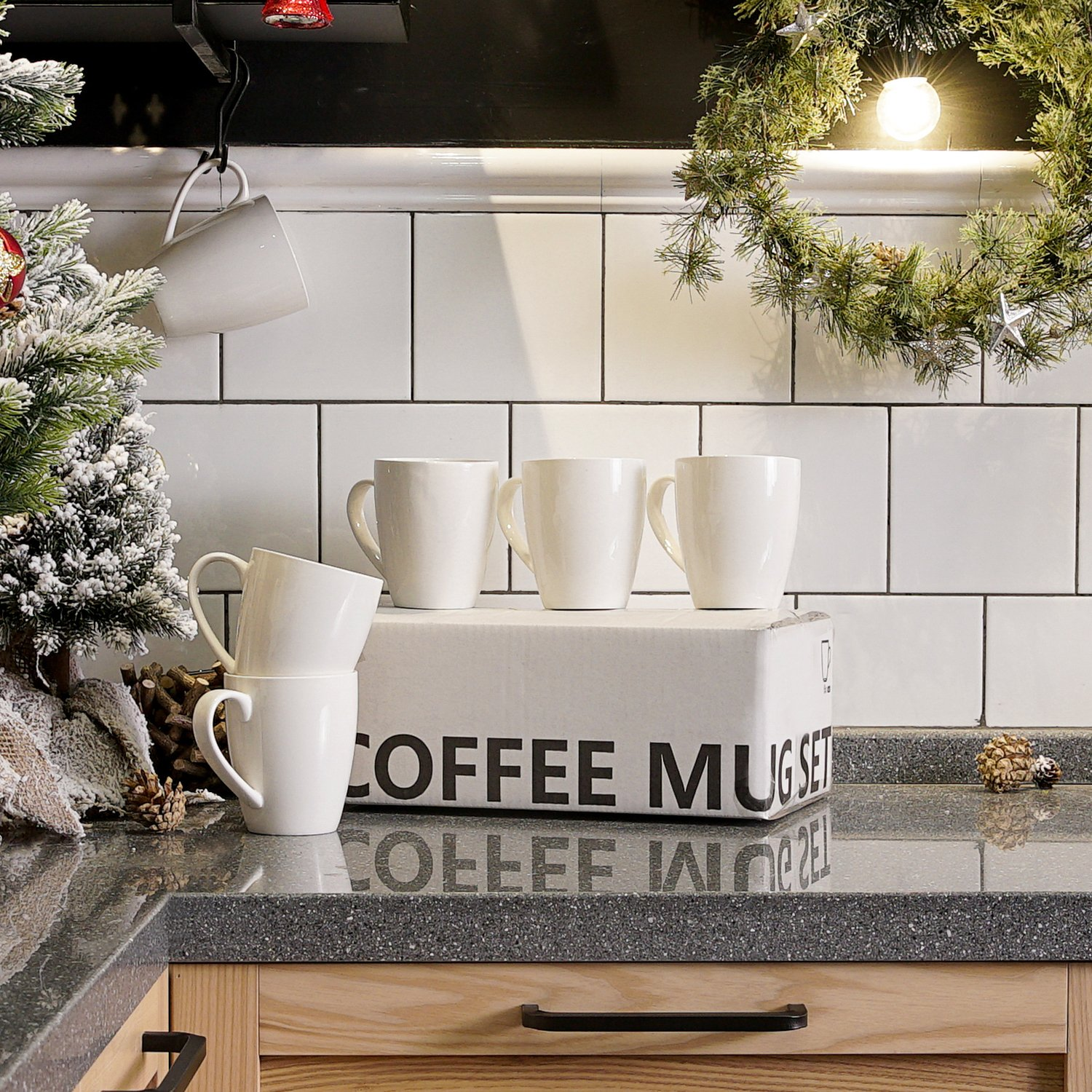 Sweese 6201 Porcelain Mugs - 16 Ounce for Coffee, Tea, Cocoa, Set of 6, White by Sweese (Image #3)