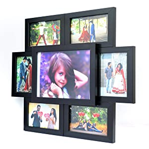 AJANTA ROYAL 7- Wall Collage Photo Frames (6-4x6 & 1-7x9 Inch) : A-83A (Black)