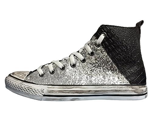 Converse All Star tessuto glitter nero e coccodrillo 212