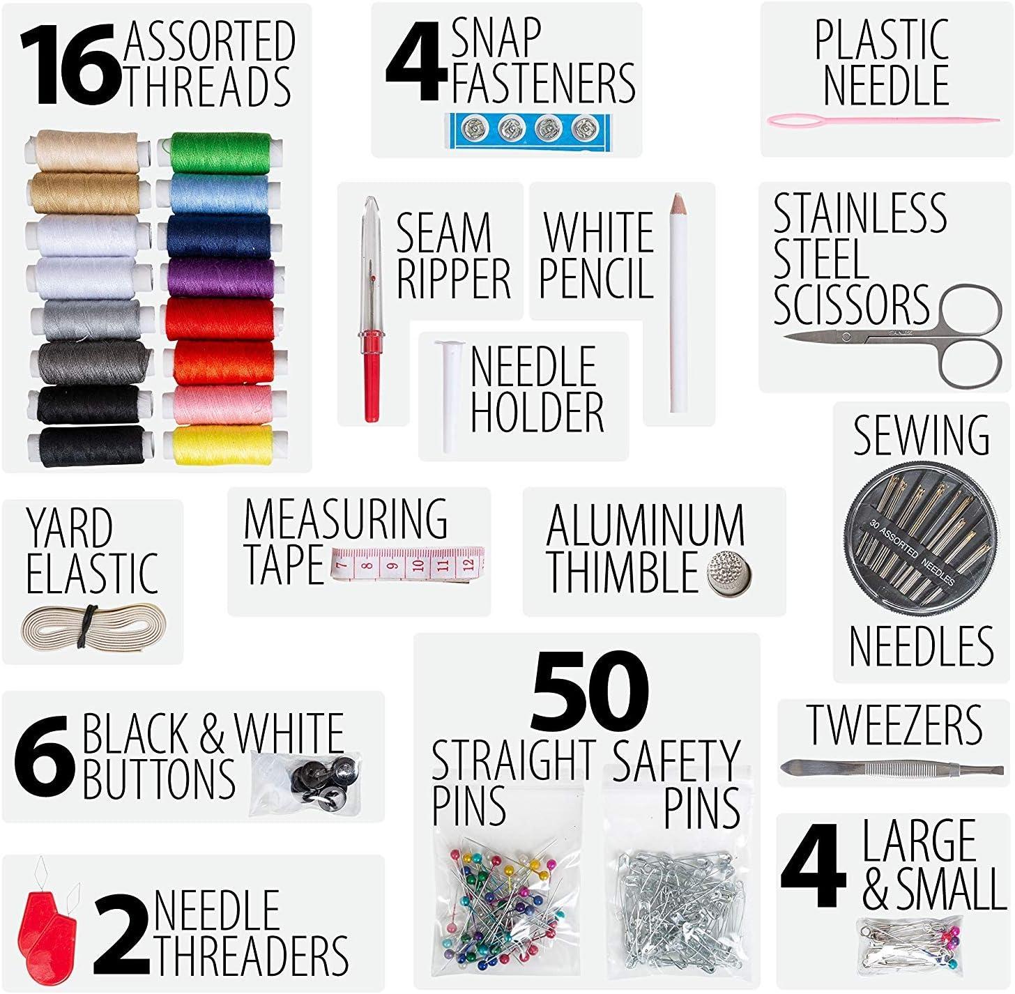 Small Mejor regalo para adultos Caso con 100 extra pines y seguridad pines. viajes camping y emergencia Mini Set de costura para el hogar