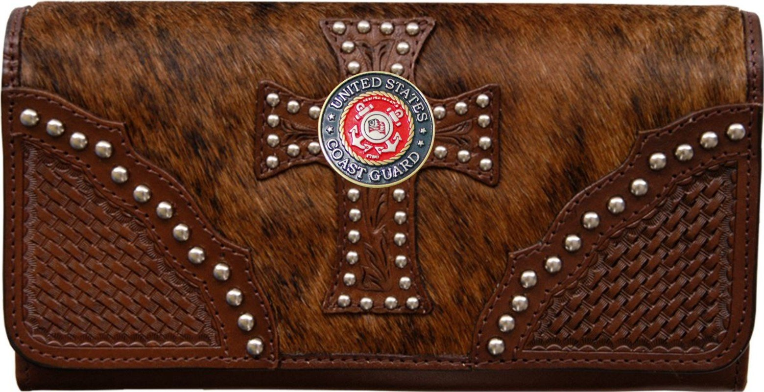 Custom United States Coast Guard Natural Hair Christian Clutch Wallet with removable checkbook