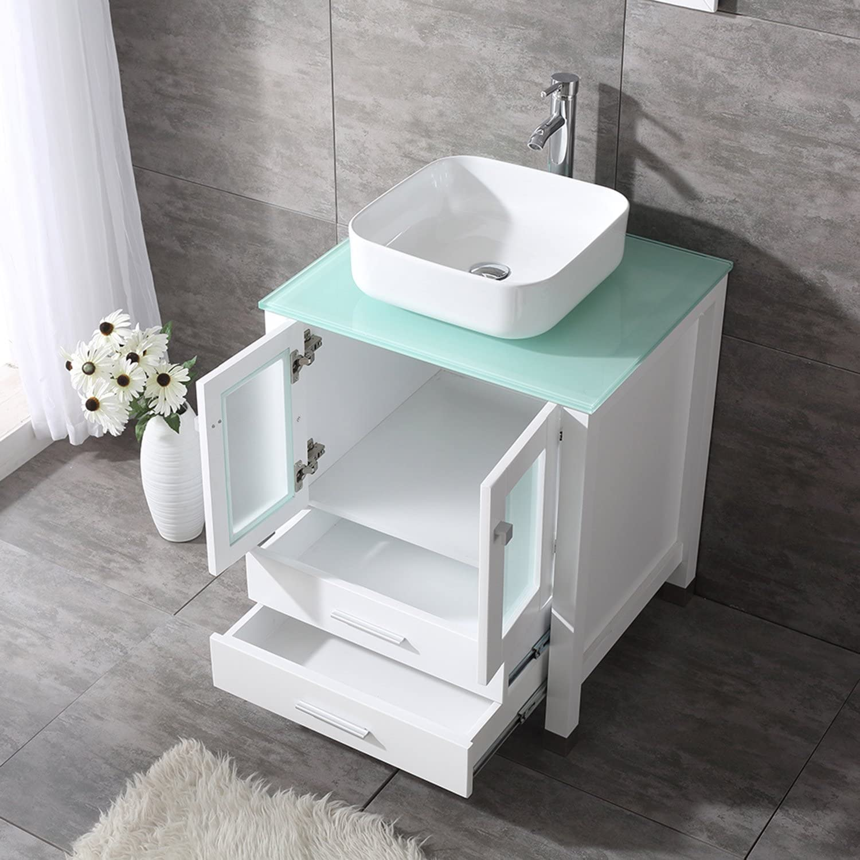 Sliverylake 24 Bathroom Vanity Ceramic Vessel Sink Combo MDF Wood Cabinet Countertop Sink Bowl w//Mirror Set